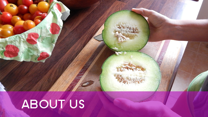About us - melon on kitchen table